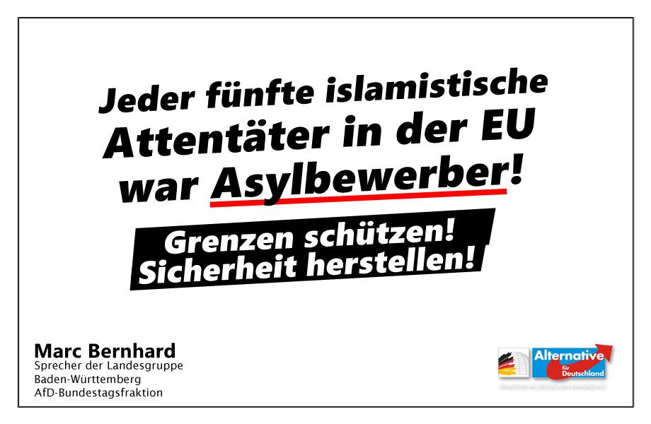 """""""Willkommenskultur"""" und Terrorismus: Jeder fünfte islamistische Attentäter in der EU warein Asylbewerber!"""